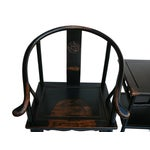 Image of Chinese Black Lacquer Elm Armchairs & Side Table