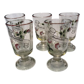 "German ""Andenken"" Pedestal Glasses - Set of 5"