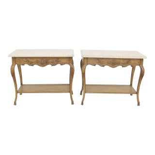 Auffray Louis XV Style Marble Top Carved Stands - A Pair