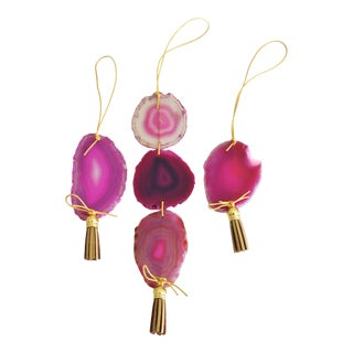 Boho Fuchsia Agate Holiday Ornaments - Set of 3