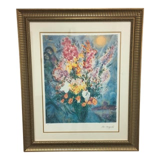 "Marc Chagall ""Floral Bouquet"" Framed and Signed Photomechanical Graphic"