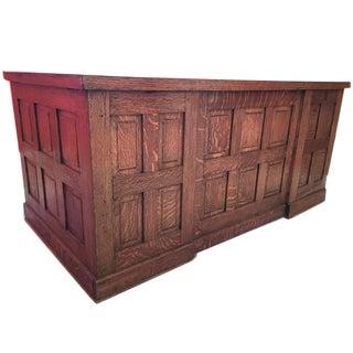 Circa 1900 Solid Oak Panel Desk
