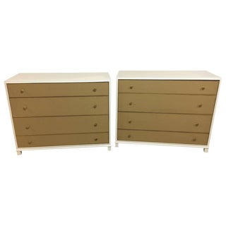 Leather Front Drawer Chests - A Pair