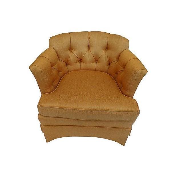 Image of Henredon Burnt Orange Tufted-Back Chairs - Pair