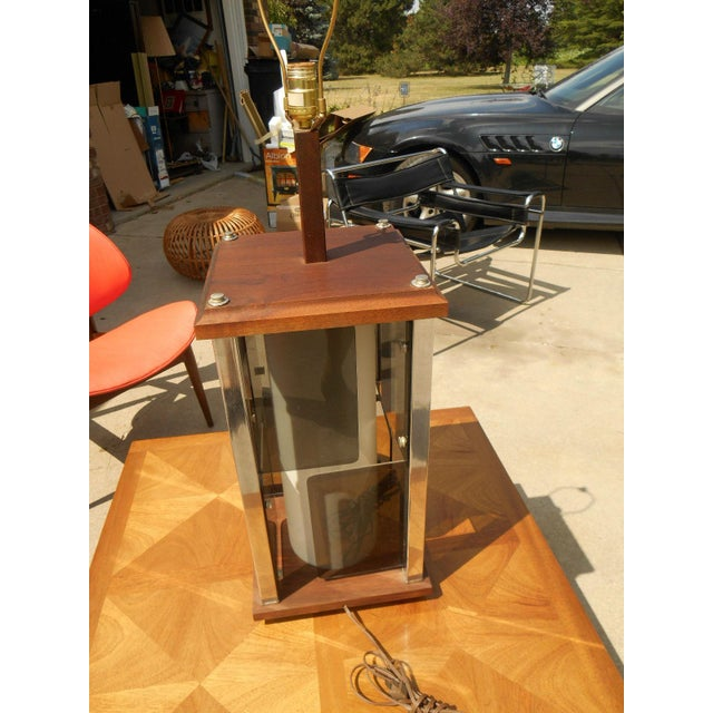 Modernist Cubist Solid Walnut & Chrome Table Lamp - Image 2 of 4