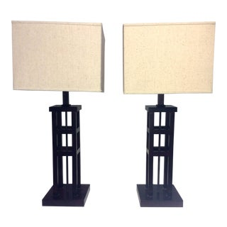 Transitional Wooden Lamps - A Pair