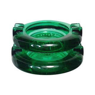 Emerald Glass Mini Ashtrays - Pair