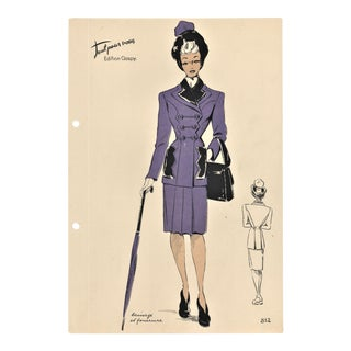 French Mid-century Fashion Design Lithograph