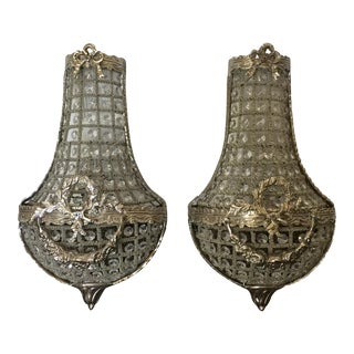 Silver Bow & Garland Detailed Sconces - A Pair