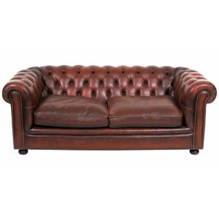 Antique English Leather Chesterfield Sofa