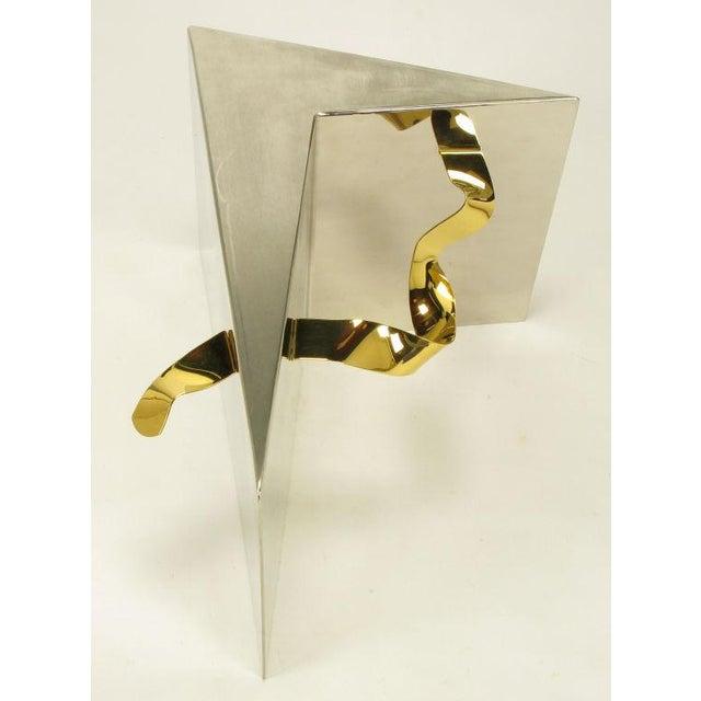 Image of Custom Artisan Chrome, Brass, And Glass Coffee Table