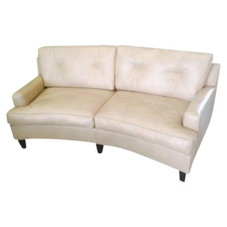 custom curved gray leather sofa chairish