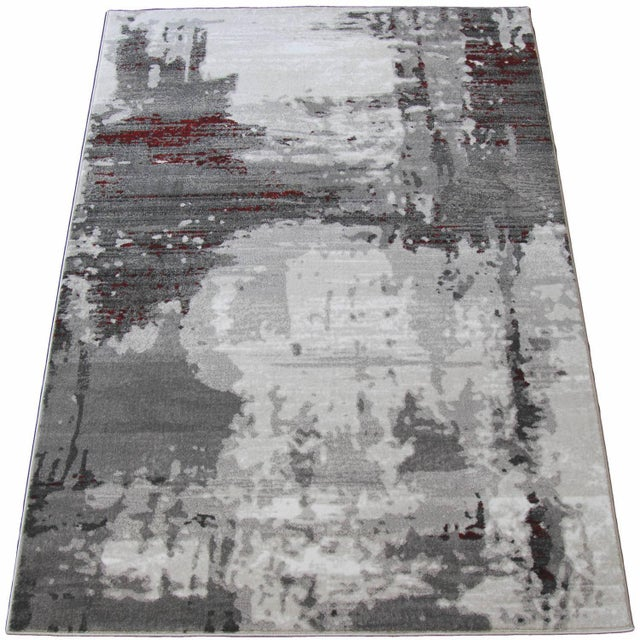 "Contemporary Gray & Red Abstract Rug - 6'7"" x 9'7"" - Image 5 of 8"