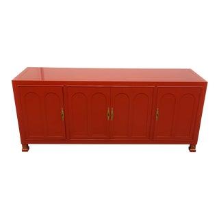 Hollywood Regency Red-Orange Lacquered Sideboard