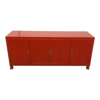 Hollywood Regency Red-Orange Lacquered Sideboard