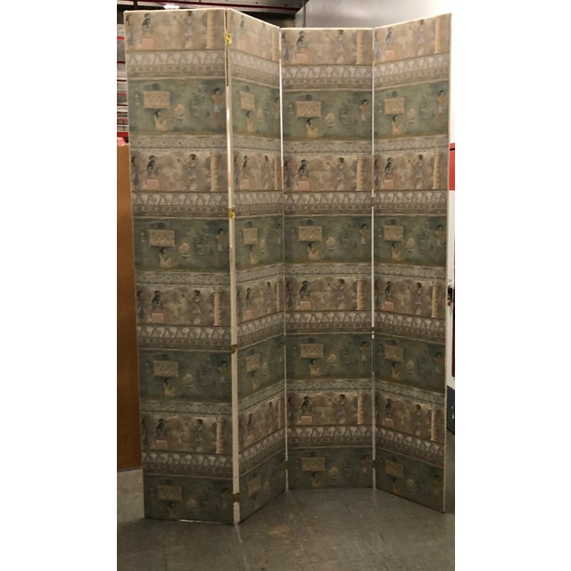 Maitland-Smith Postmodern Egyptian Revival Silk Screens - a Pair - Image 3 of 6