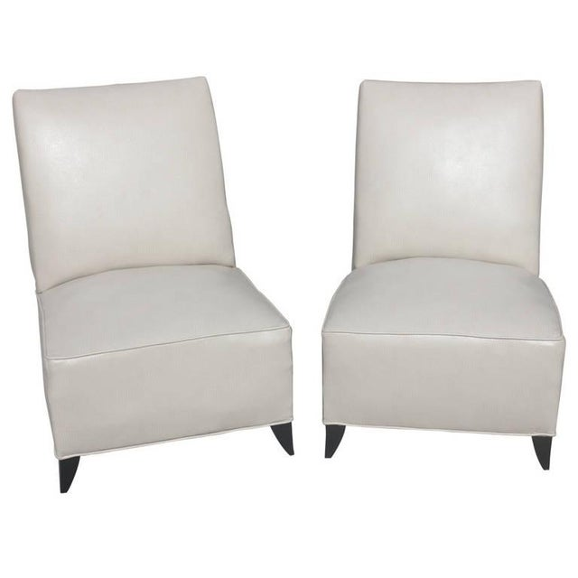 Image of French Art Deco Armless Club Chairs - Pair