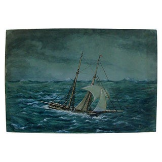 Antique Miniature Nautical Ship Painting