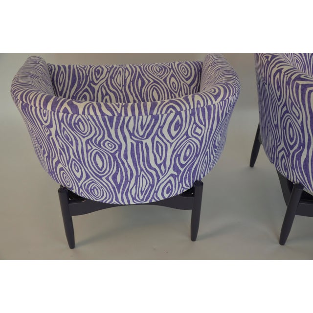 Pair of Lawrence Peabody Upholstered Barrel Back Lounge Chairs - Image 3 of 5