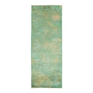"""Green Hand Knotted """"Vibrance"""" Runner Rug - 3' 1"""" X 8' 5"""""""