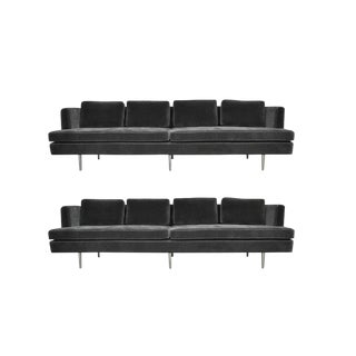 Pair of Classic Dunbar Sofa by Edward Wormley in Charcoal Mohair
