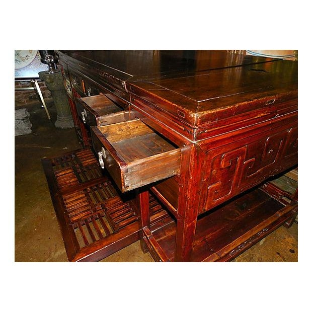 Rare Chinese Rosewood Partner's Desk, C. 1920 - Image 6 of 9