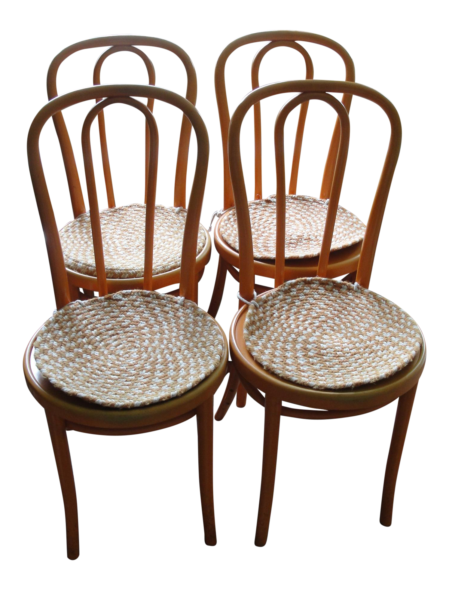 Set Of 4 Orange Thonet Bentwood Cafe Chairs