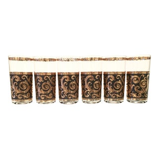 Black & Gold Paisley High Ball Glasses - Set of 6