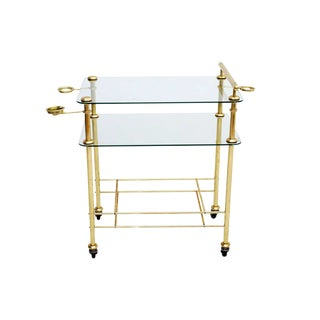Hollywood Regency Brass and Glass Service Bar Cart