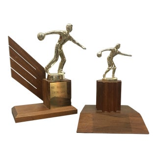 1960's Mid-Century Bowling Trophies - A Pair