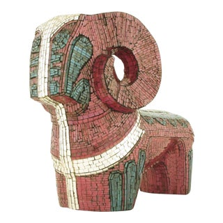 Abstract Ram Sculpture Clad In Miniature Glass Mosaic