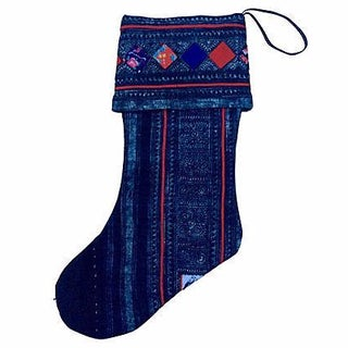 Vintage Tribal Batik Christmas Stocking
