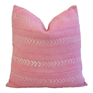 Boho-Chic Pink & White Tribal Design Feather/Down Pillow