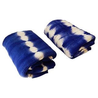 Blue & White Mud-Cloth Textiles, S/2