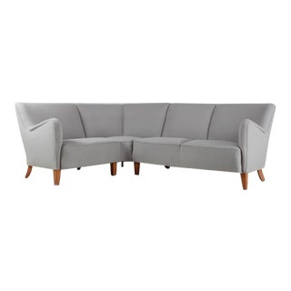 Corner Sofa with Light Grey Wool Upholstery, Denmark, 1940s