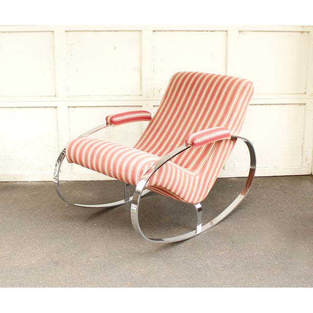Guido Faleschini Mid-Century Chrome Rocking Chair - Image 4 of 9