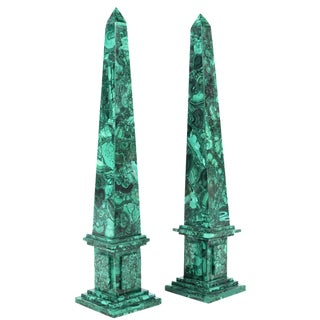 Russian Malachite Obelisks - A Pair