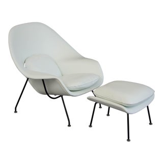 Eero Saarinen White Womb Chair and Ottoman for Knoll