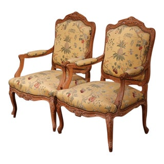 20th Century French Carved Louis XV Armchairs With Scalamandre Fabric - a Pair