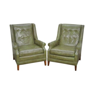 Vintage Pair of Green Tufted Back Lounge Chairs by Gallery Crafts
