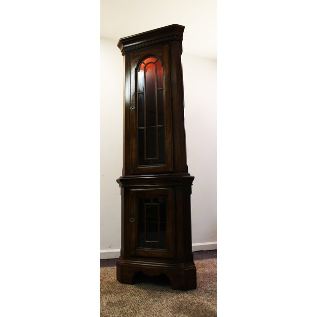 Two-Piece Lighted Cherry Curio Corner Cabinet - Image 2 of 11