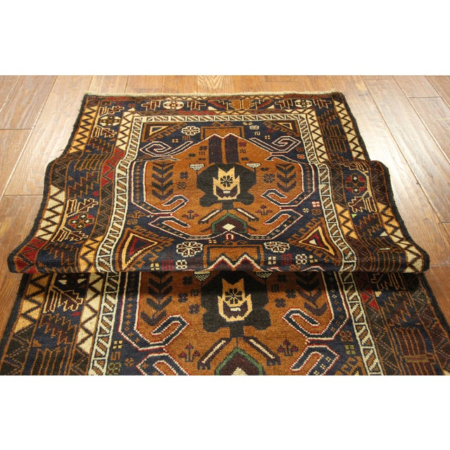 "Brown & Navy Balouch Runner Rug - 3' x 9'10"" - Image 8 of 9"