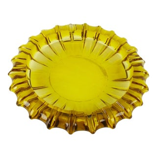 Massive Fostoria Citrine Glass Decorative Bowl