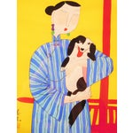 Image of Contemporary Japanese Painting of Woman & Dog