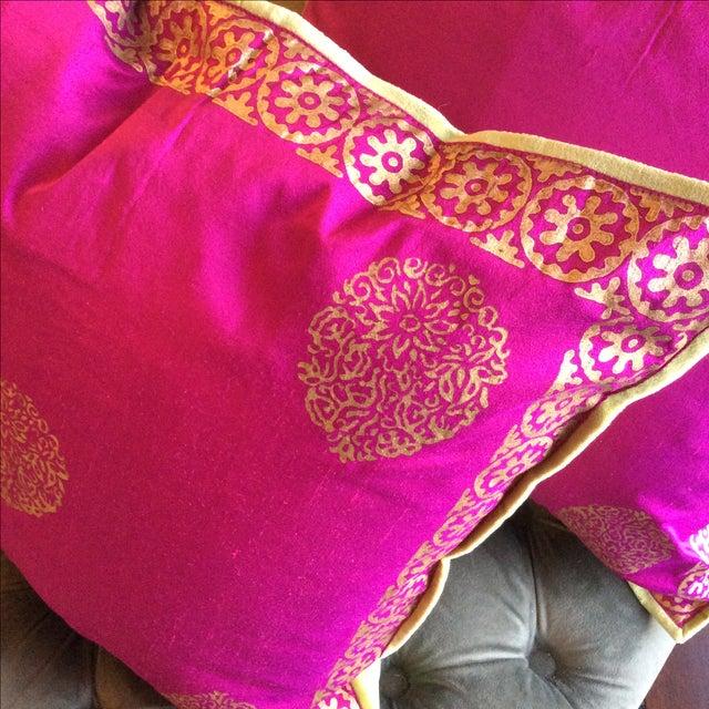 Silk Magenta & Gold Block Print Pillows - A Pair - Image 3 of 5