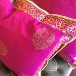 Image of Silk Magenta & Gold Block Print Pillows - A Pair