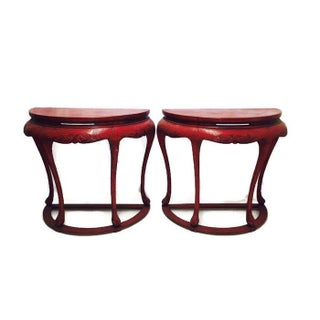 Chinoiserie Red Demilune Console Tables - a Pair