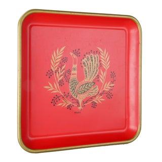 Signed Maxey Vintage 1960s Peacock Tin Tray