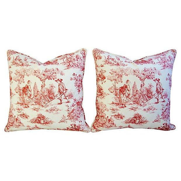 French Country Toile Pillows - A Pair - Image 1 of 6