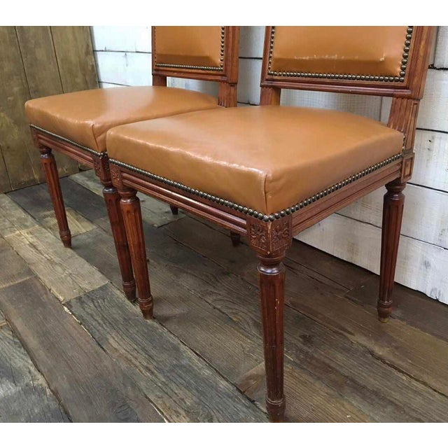 Antique Louis XVI Leather Upholstered French Country Chairs - A Pair - Image 9 of 11